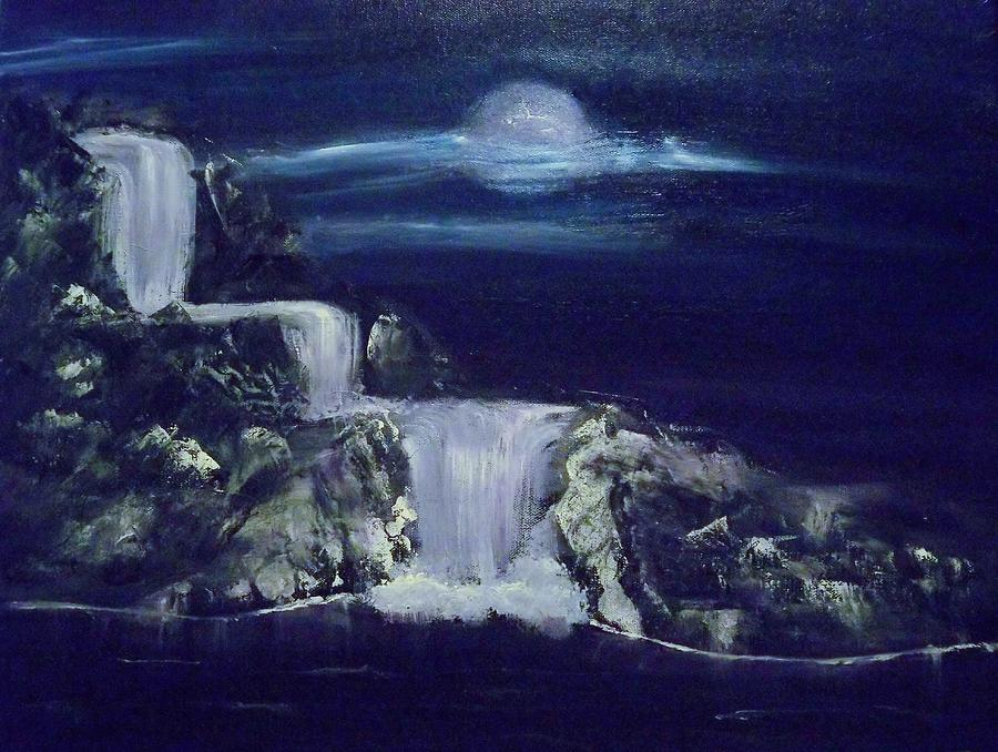 Waterfall In The Night Painting By Stanley Whitehouse