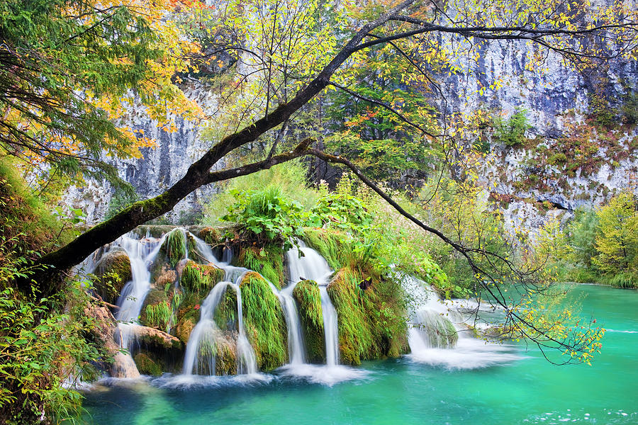 Waterfall Photograph - Waterfall In The Plitvice Lakes National Park by Artur Bogacki