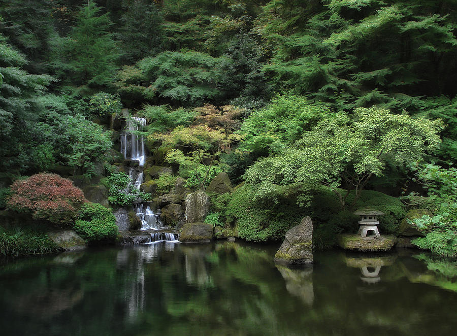 Waterfall Portland Japanese Garden Oregon Photograph