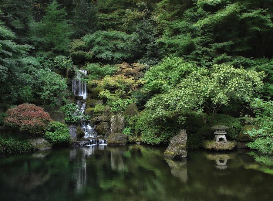 Waterfall portland japanese garden oregon photograph for Garden fountains portland oregon