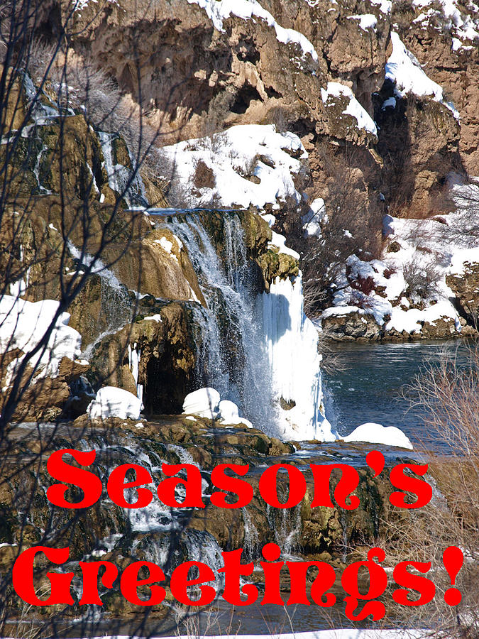 Christmas Photograph - Waterfall Seasons Greeting by DeeLon Merritt