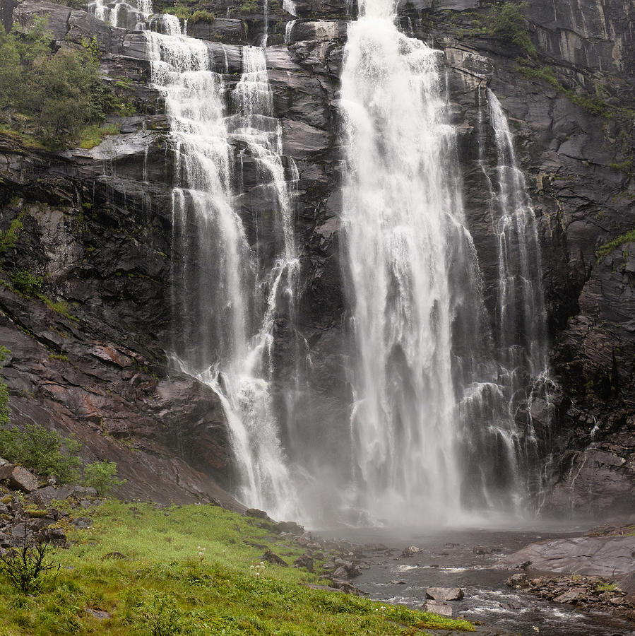 Blur Photograph - Waterfalls Over A Cliff Norway by Keith Levit