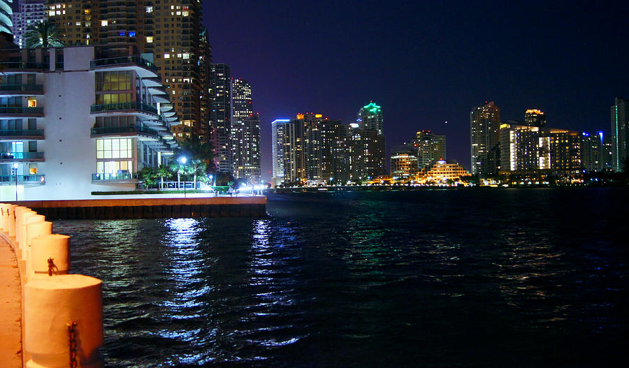 Waterfront Photograph - Waterfront By Night by Dieter  Lesche