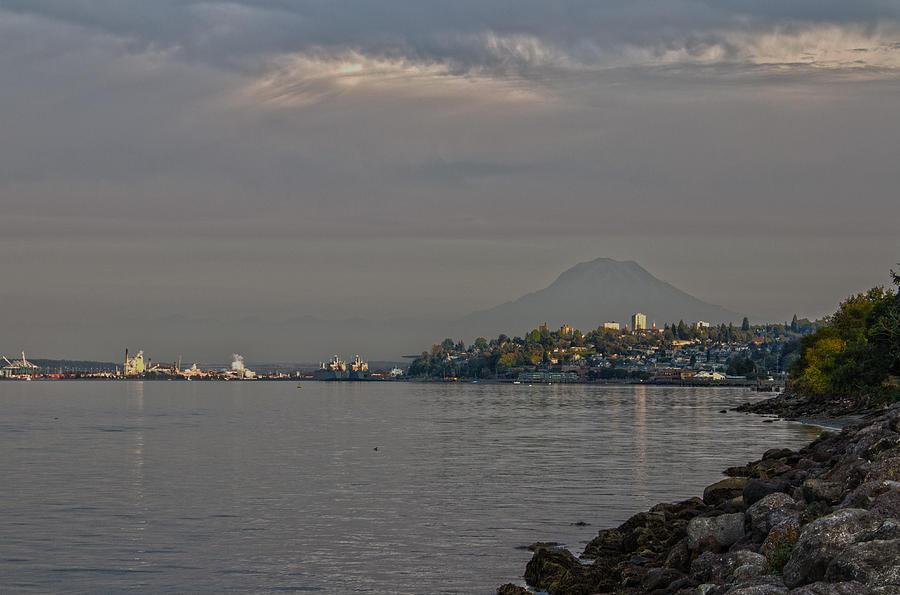 Rainier Mountain Photograph - Waterfront Look At Mount Rainier by Barry Jones