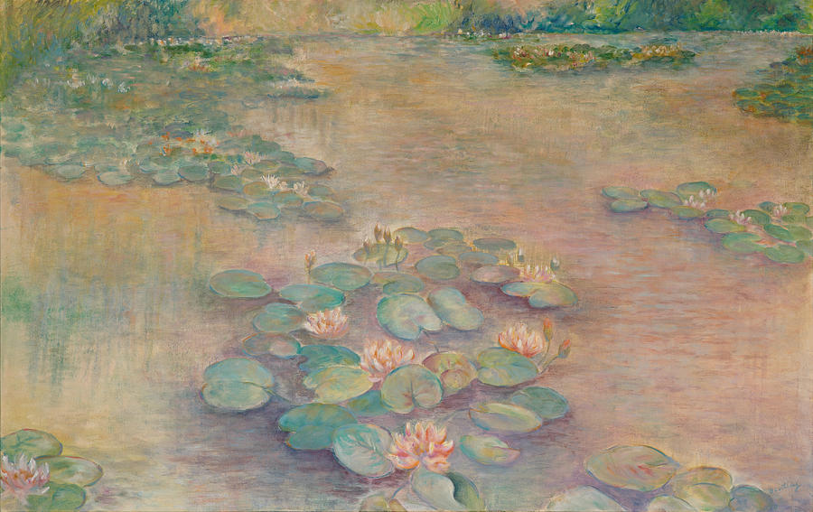 Waterlilies Painting - Waterlilies At Dusk by Rita Bentley