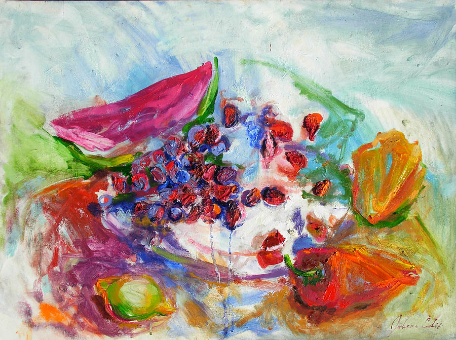 Still Life Painting - Watermelon And Pepper by Jelena Cholic