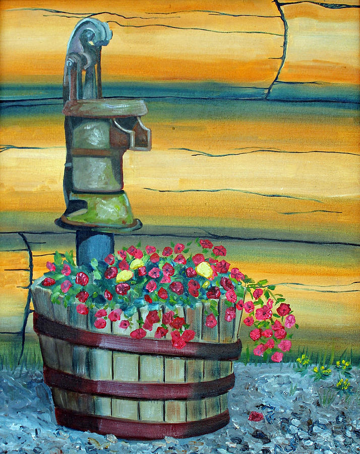 Flowers Painting - Waterpump And Petunias by Amy Reisland-Speer