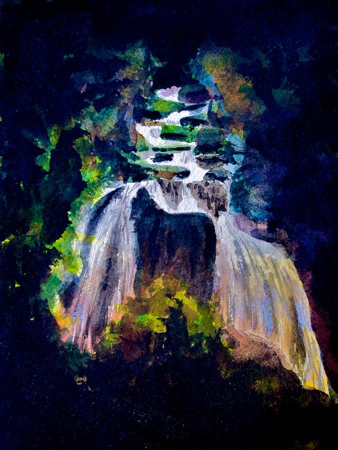 Waterfall Painting - Waters Moonlit Path by Frank SantAgata