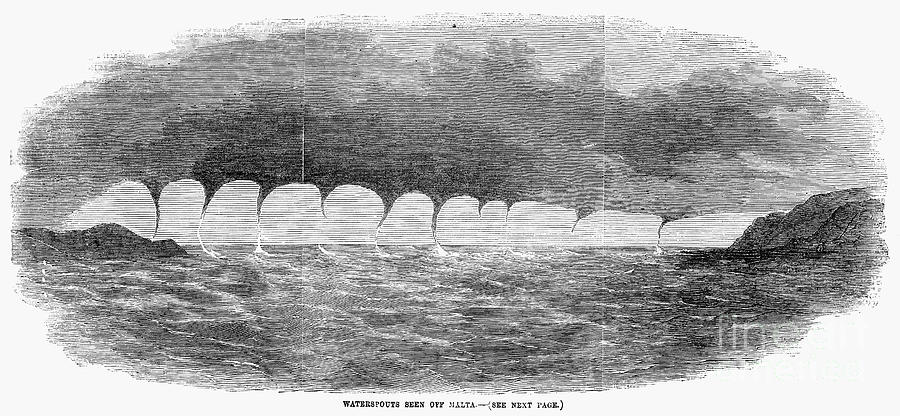 1856 Photograph - Waterspouts, 1856 by Granger