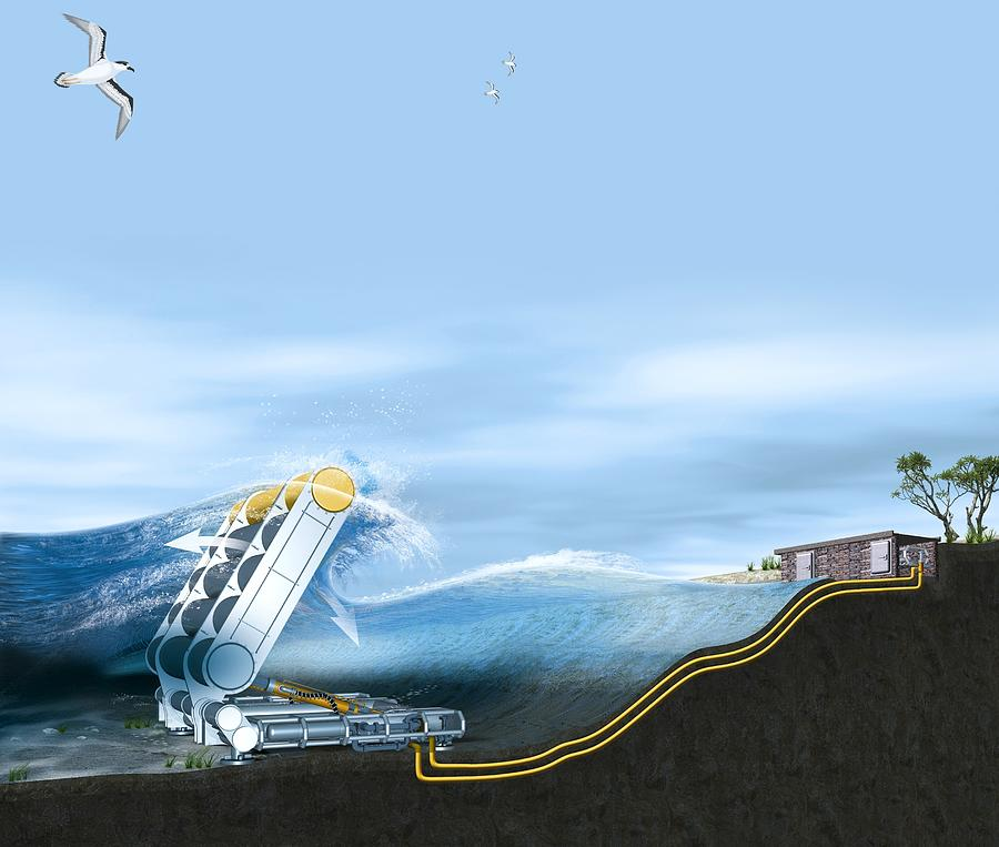 Machine Photograph - Wave Energy Converter, Artwork by Claus Lunau