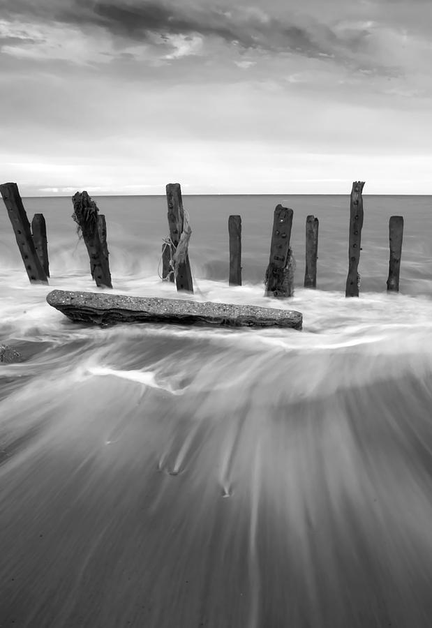 Bay Photograph - Wave In Black And White by Svetlana Sewell