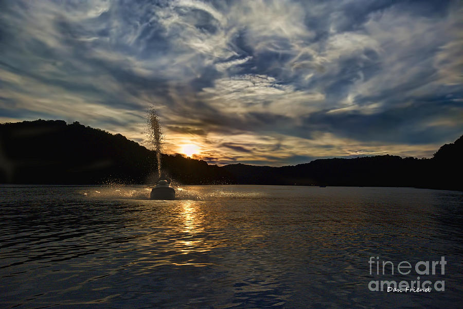 Evening Photograph - Wave Runner On Lake Evening by Dan Friend