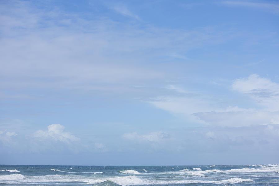 Horizontal Photograph - Waves And Sky by David Freund