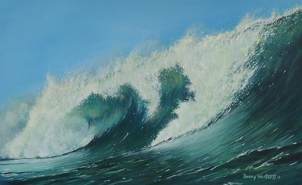 Seascape Painting - Waves by Barry Westcott