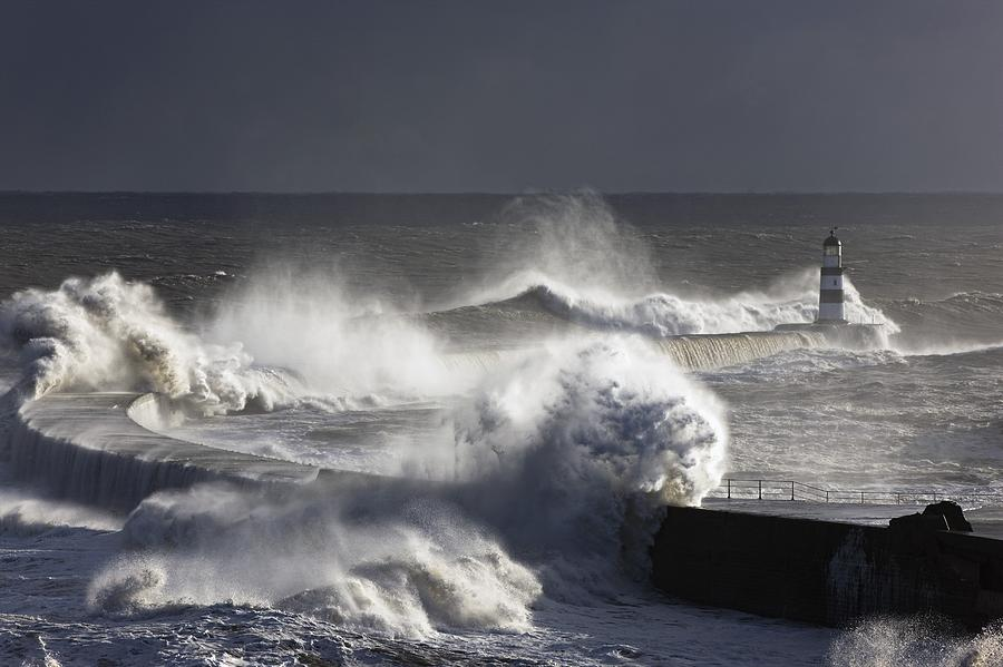 Waves Crashing On Lighthouse, Seaham Photograph by John Short