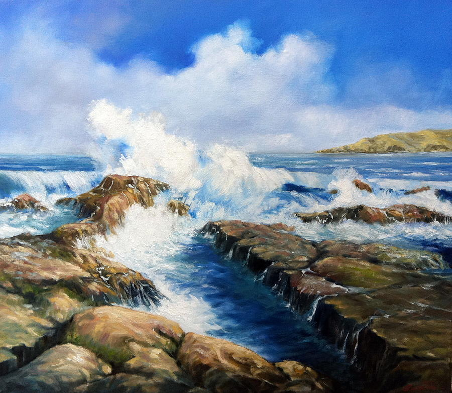 Seascape Painting - Waves Of Allyhes by Roman Burgan
