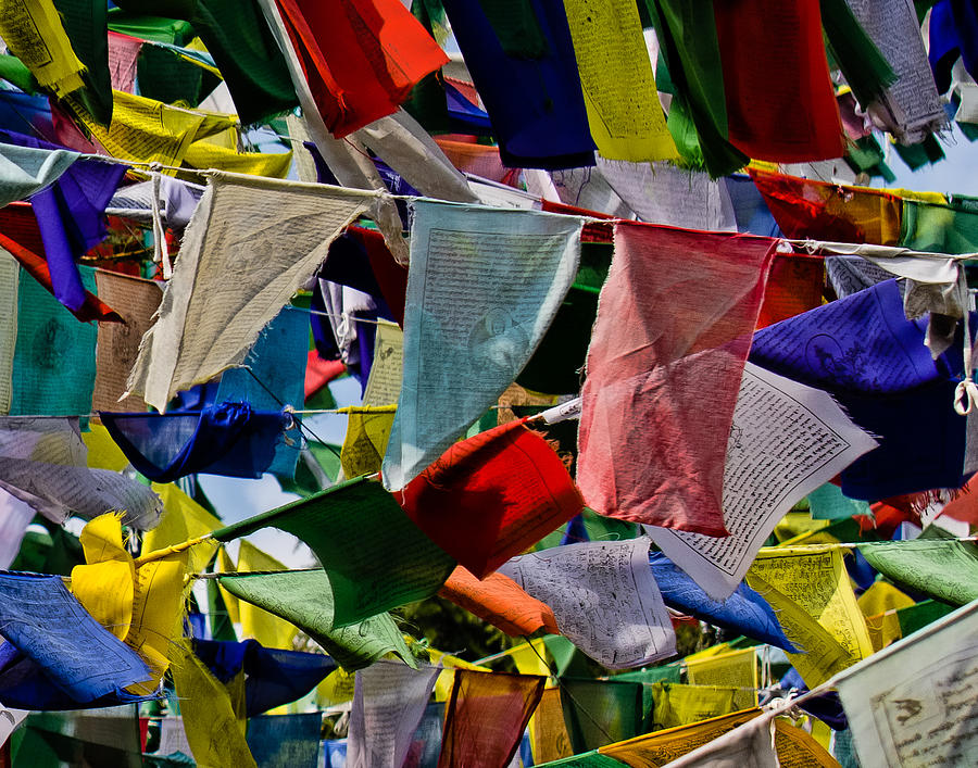 Prayer Flags Photograph - Waving Prayer Flags by Don Schwartz