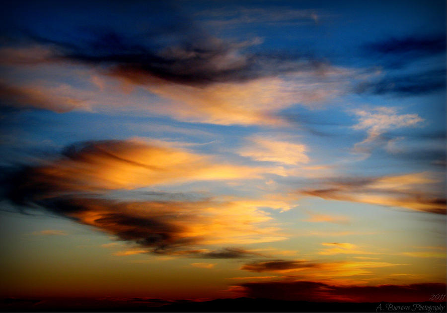 Albuquerque Photograph - Wavy Sunset Clouds by Aaron Burrows