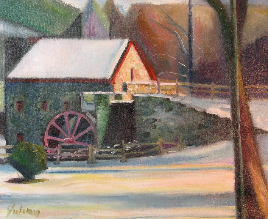 Wayside Inn Painting - Wayside Inn Mill by Sid Solomon