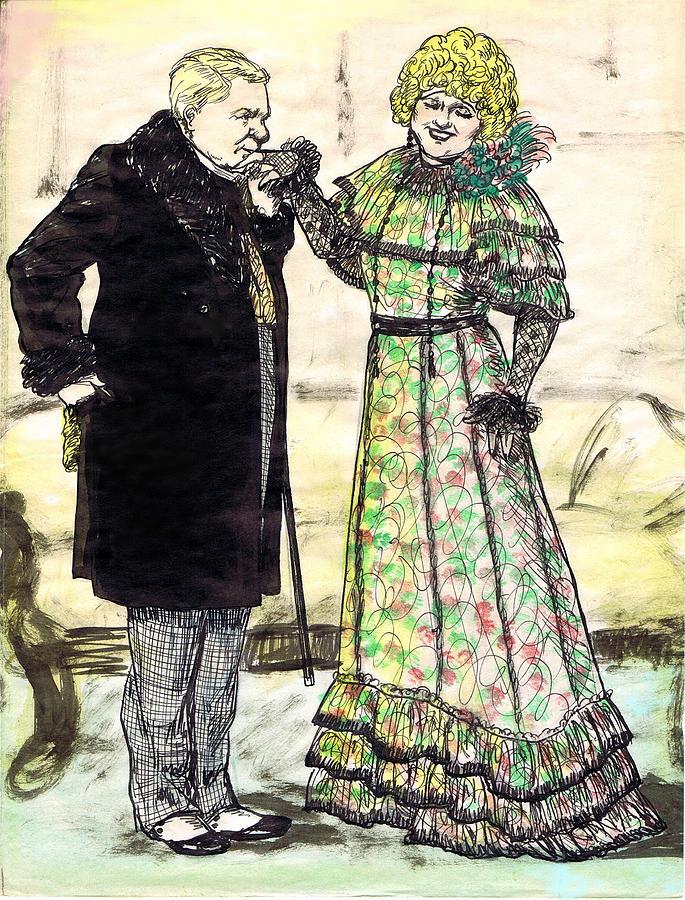 Nostalgia Drawing - W.c.fields And Jan by Mel Thompson