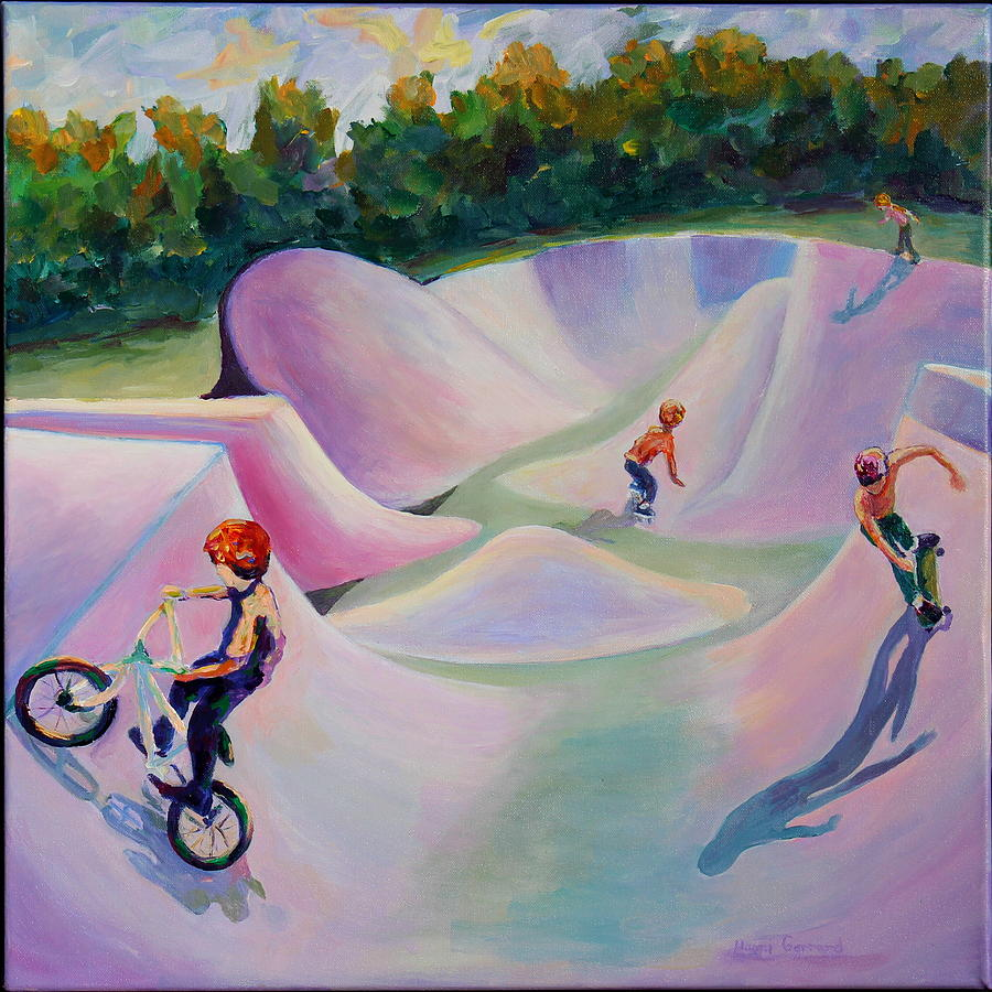 Skate Boarding Painting - We Love Our Park by Naomi Gerrard