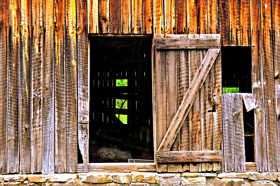 Barn Photograph - Weathered Barn Door by Marty Koch