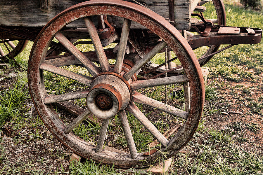 Weathered Coverd Wagon Wheel Photograph By Linda Phelps