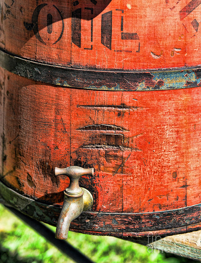 Rustic Red Photograph - Weathered Red Oil Bucket by Paul Ward