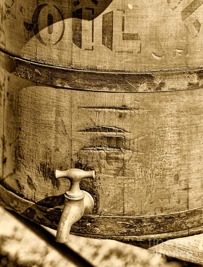 Rustic Red Photograph - Weathered Wooden Bucket In Sepia by Paul Ward
