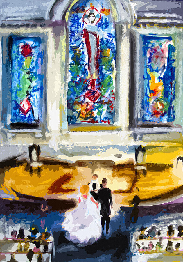South Carolina Painting - Wedding Day At Second Presbyterian Church Charleston Sc by Ginette Callaway