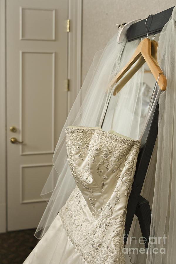 Bedroom Photograph - Wedding Dress by Ned Frisk