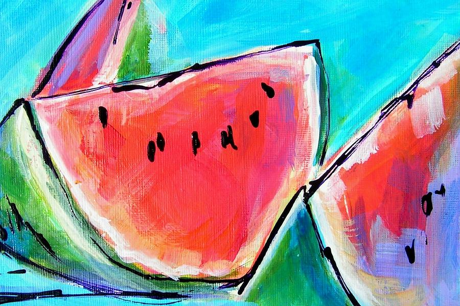 Watermelon Painting - Wedgies by Judy  Rogan