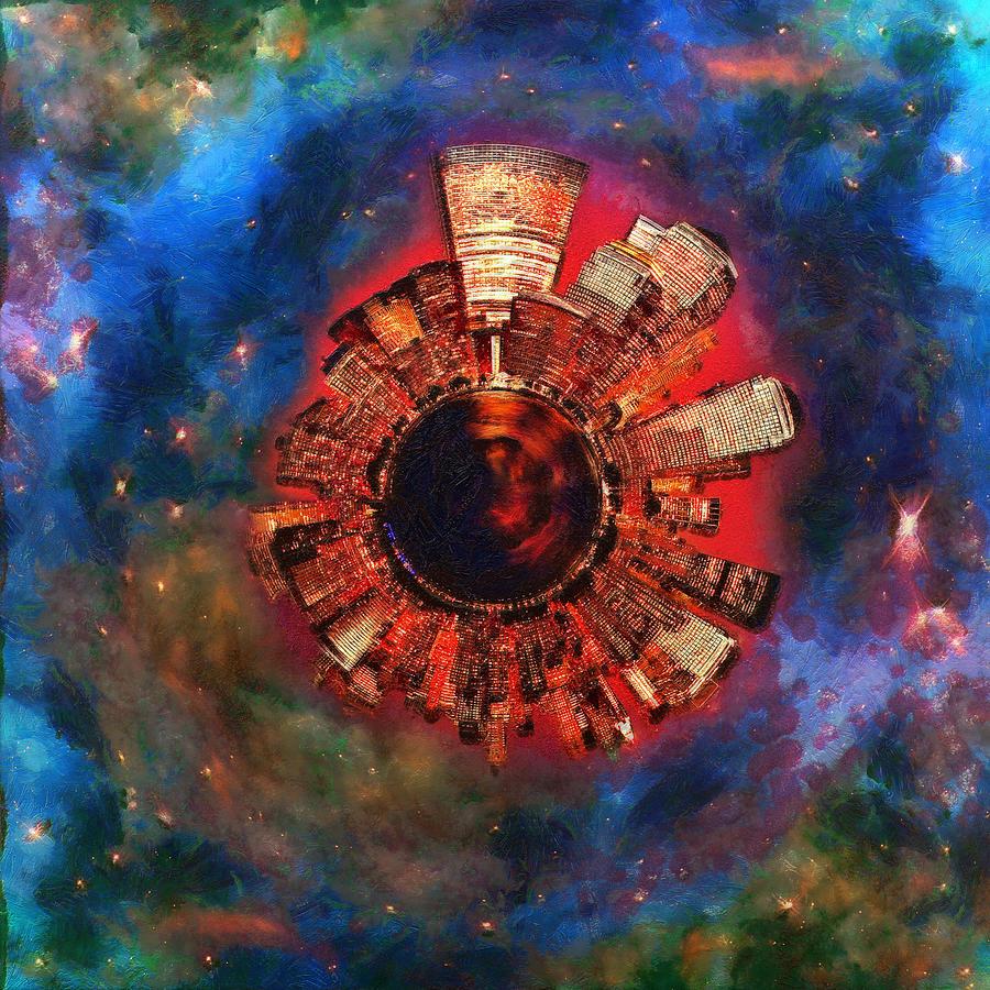 Manhattan Digital Art - Wee Manhattan Planet - Artist Rendition by Nikki Marie Smith