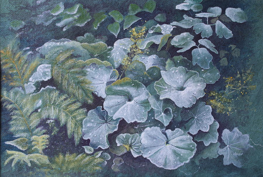 Surreal Landscape Painting - Weeping Ladies Mantle by Patsy Sharpe