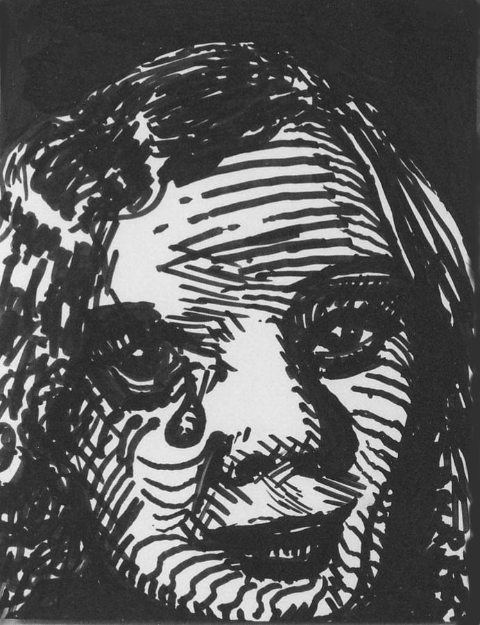Louis Drawing - Weeping Woman by Louis Gleason