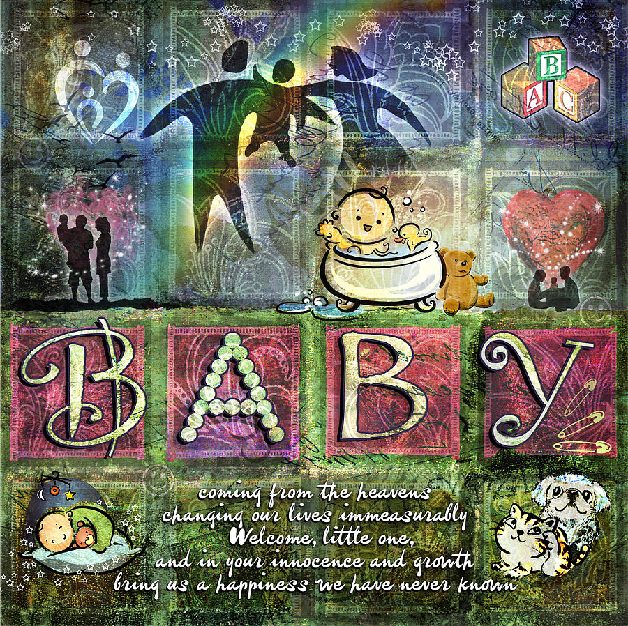 Baby Digital Art - Welcome Baby Girl by Evie Cook
