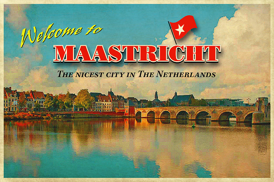 Vintage Card Photograph - Welcome To Maastricht by Nop Briex