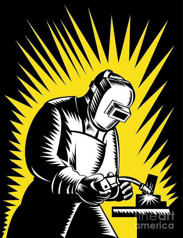 Illustration Digital Art - Welder Metal Worker Welding Retro  by Aloysius Patrimonio