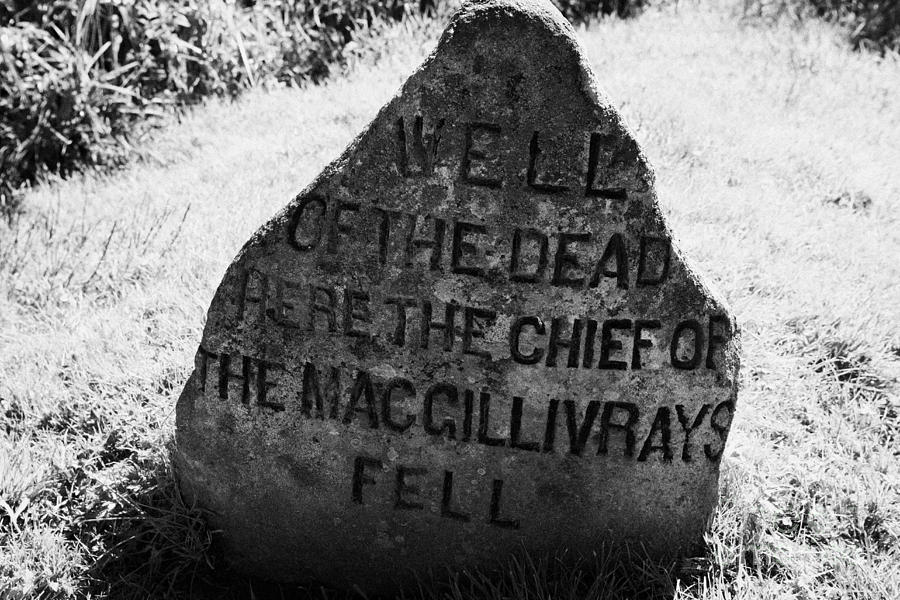 Memorial Photograph - well of the dead and clan macgillivray memorial stone on Culloden moor battlefield site highlands sc by Joe Fox
