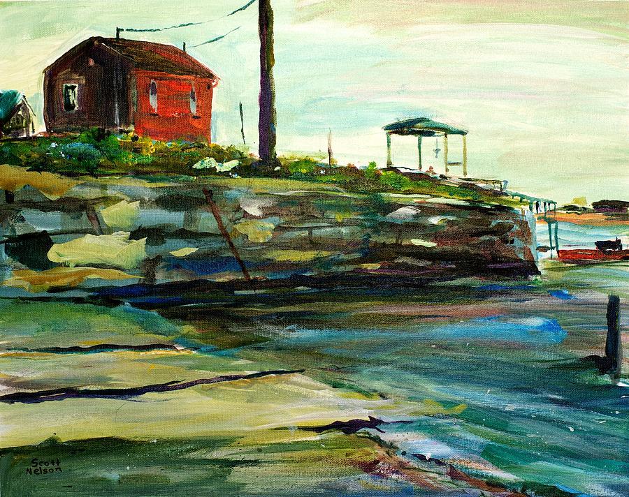 Ocean Painting - Wells Harbor Maine by Scott Nelson