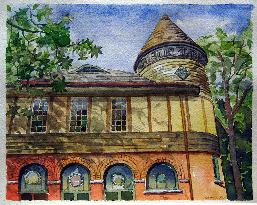Landscape Painting - West Chester Library by Michael Stancato