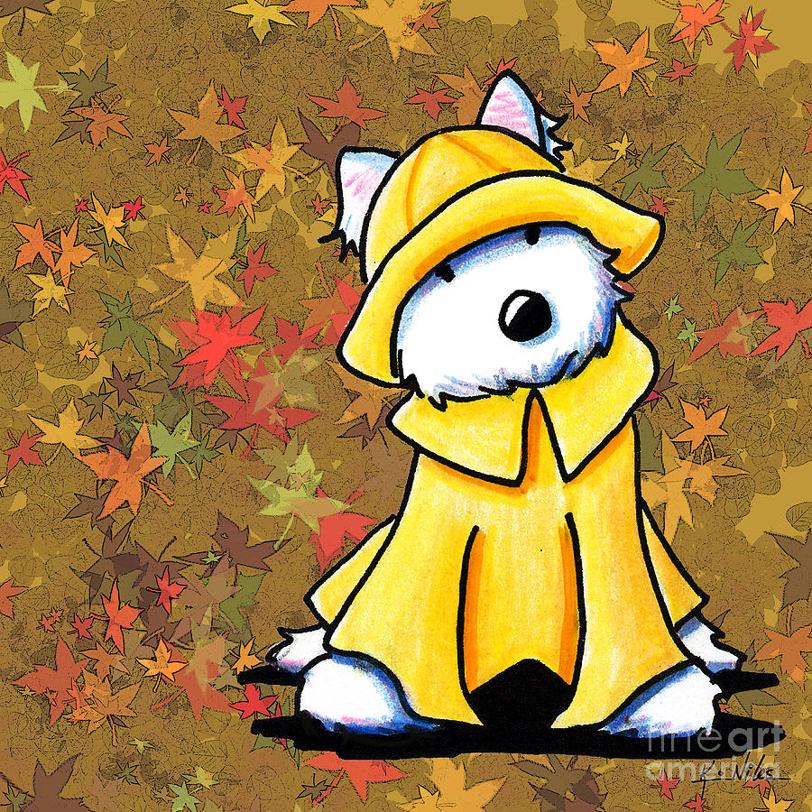Autumn Drawing - West Coast Autumn Westie by Kim Niles