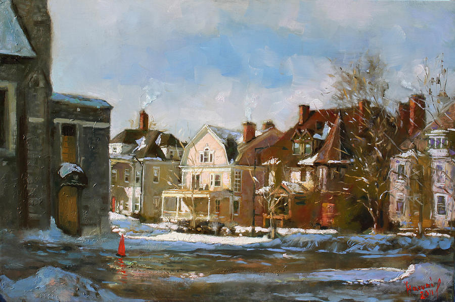 Houses Painting - West Ferry Street by Ylli Haruni