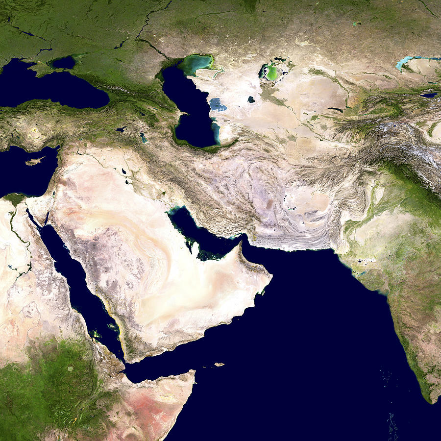 Western Asia Photograph - Western Asia, Satellite Image by Nasa