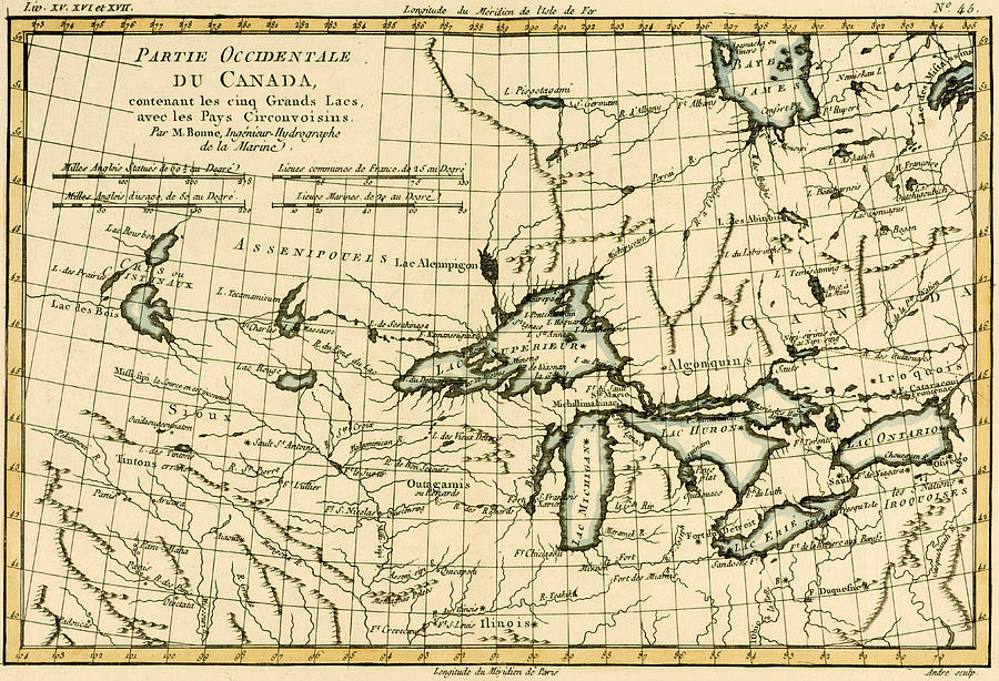 Engraving Drawing - Western Canada And The Five Great Lakes by Guillaume Raynal