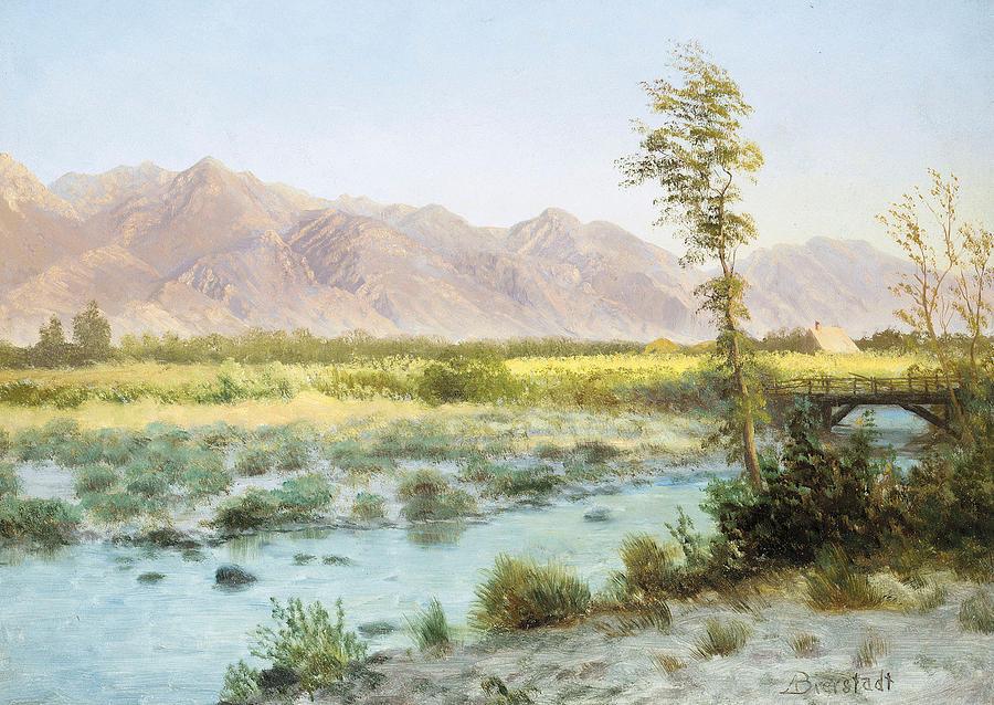 Albert Bierstadt Painting - Western Landscape by Albert Bierstadt