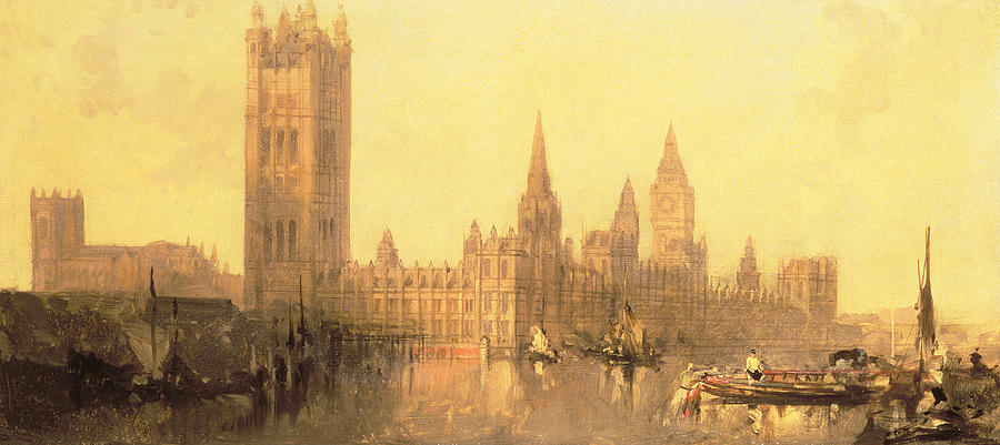 Millbank Painting - Westminster Houses Of Parliament by David Roberts