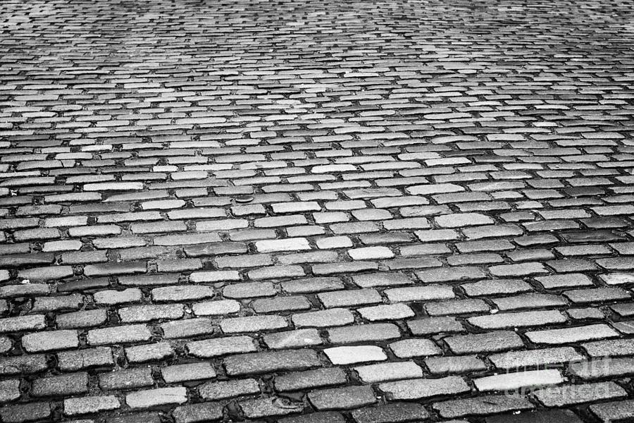 Wet Photograph - Wet Cobblestoned Huntly Street In The Union Street Area Of Aberdeen Scotland Uk by Joe Fox