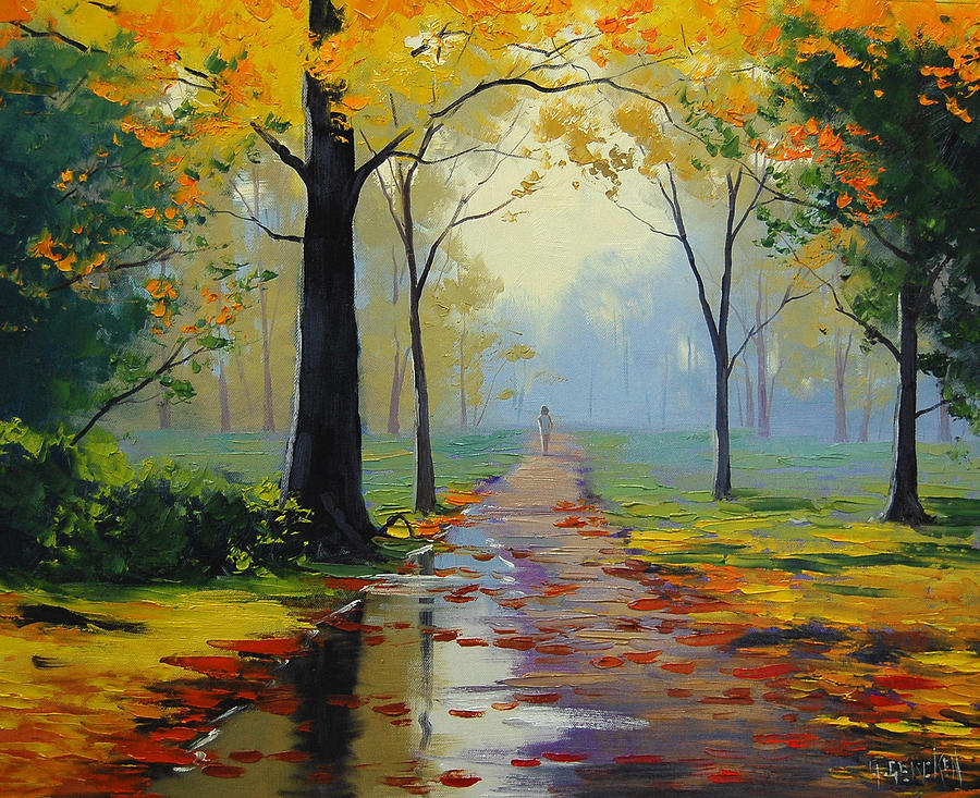Fall Painting - Wet Road by Graham Gercken