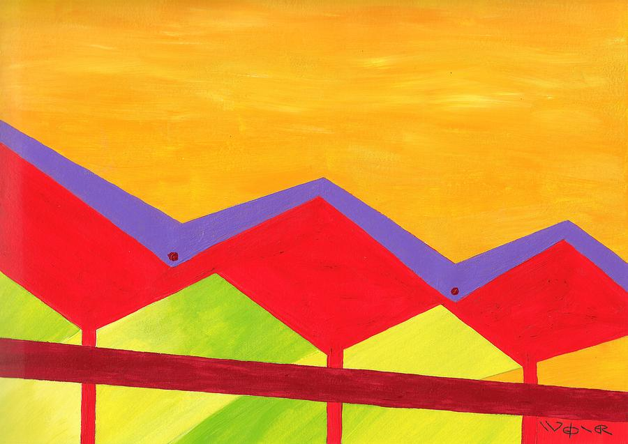 Architecture Painting - Wexler Folded Roof Three by Randall Weidner